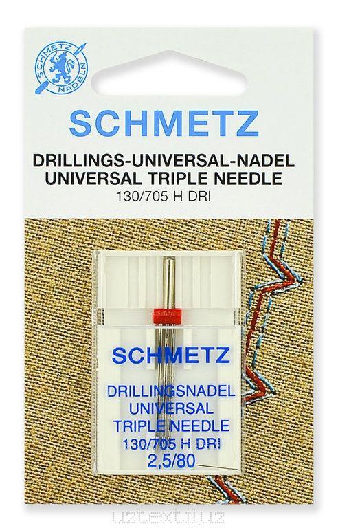 Игла универсальная тройная Schmetz 130/750H DRI №80/2.5 - 1 Штука