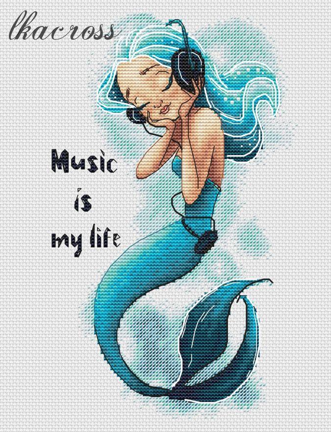 """""""Music Is My Life"""". Схема/набор для вышивания крестиком."""