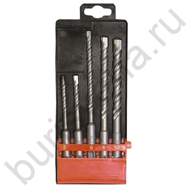 Набор буров по бетону, 5-6 х 110,6-8-10 х 160 мм, 5 шт, в пластиковой коробке, SDS PLUS. MATRIX