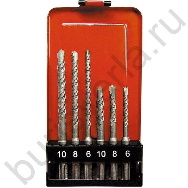 Набор буров по бетону, 6-8-10 х 110,6-8-10 х 160 мм, 6 шт, в пластиковой коробке, SDS PLUS. MATRIX