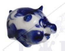 Сувенир Гжель Символ года 2019 ОПТОМ -  Хрюнчик маленький 2,5x4x3 см