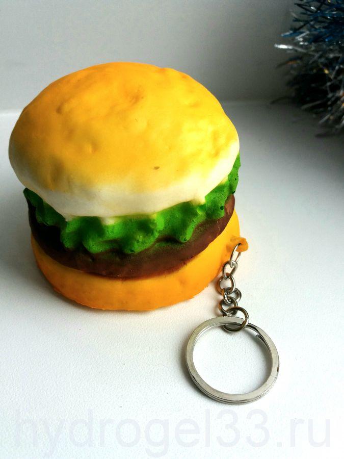 Сквиши гамбургер на брелке