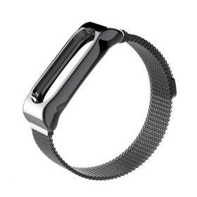 Плетеный ремешок для Xiaomi Mi Band 3 черный (металл)