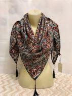 Косынка с начесом и изящным персидским рисунком из гладкой шерсти 100х100 см KS005