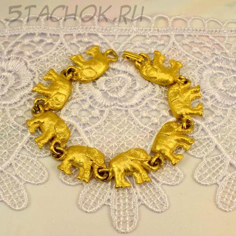 """Брошь """"Слоники"""" цвет золота (AJC США)"""