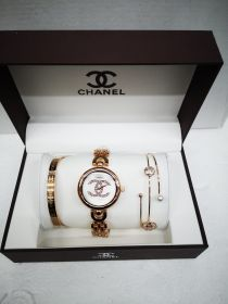 Набор женский: Часы №2 + 2 браслета CHANEL