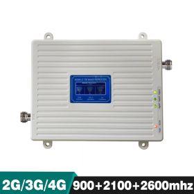 Трехдиапазонный усилитель (Репитер) сигнала Repeater 2G GSM / 3G / 4G (900MHz / 2100MHz / 2600MHz) КОМПЛЕКТ С КАБЕЛЕМ И АНТЕННАМИ