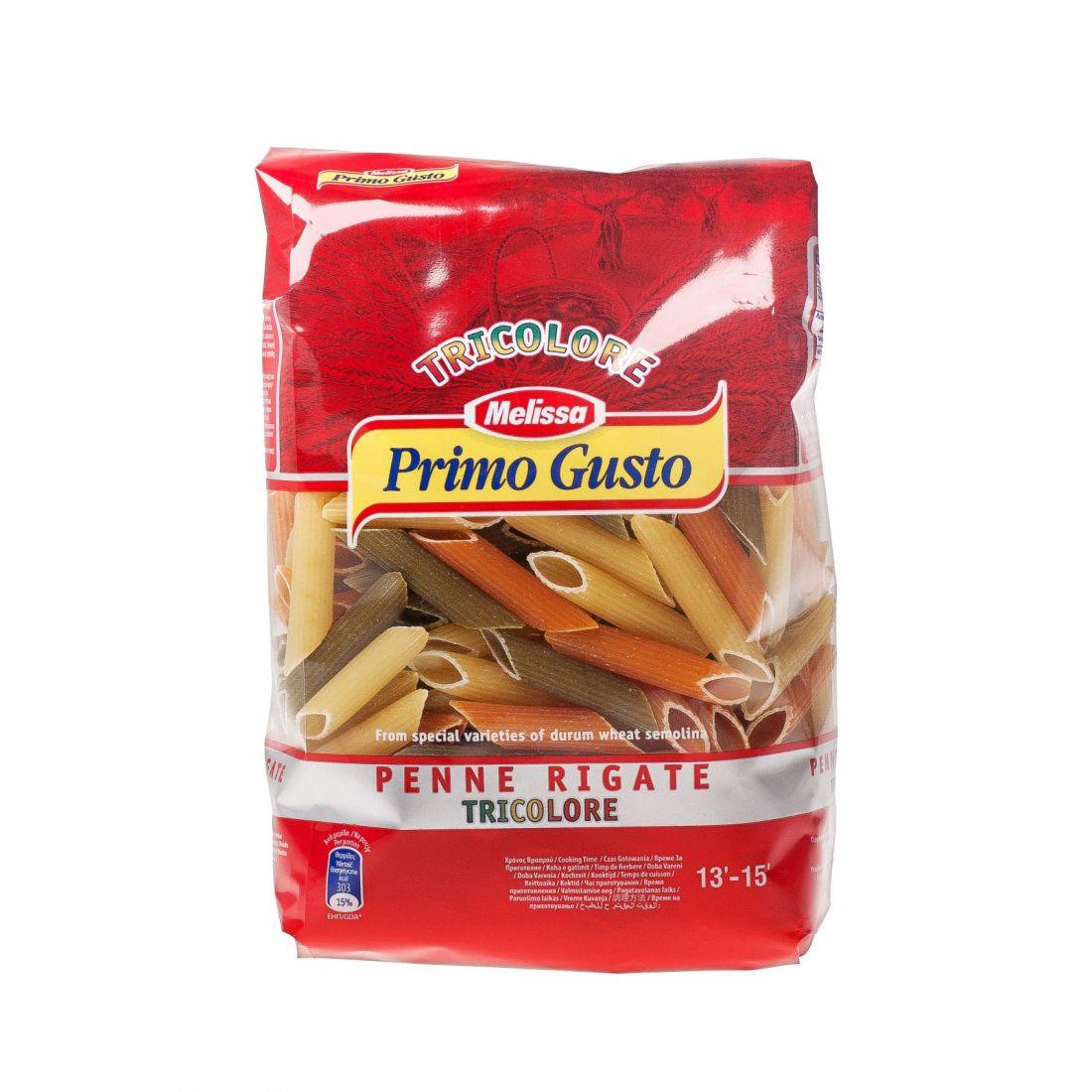 Паста «Пенне Ригате Триколор» томатно-шпинатная Melissa-Primo Gusto 500 гр