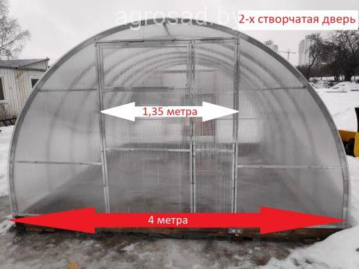 Теплица Сибирская двустворчатая - 10 м (труба 40х20, шаг 0,5 метра)