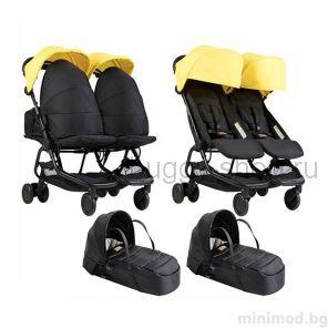 Nano Duo (Нано Дуо) с коконами, коляска для двоих новорожденных Mountain Buggy Nano Duo с коконами