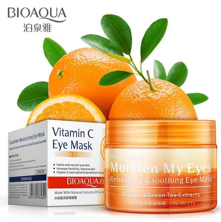 Патчи тканевые для кожи вокруг глаз с экстрактом апельсина и зеленого чая (36шт), BIOAQUA