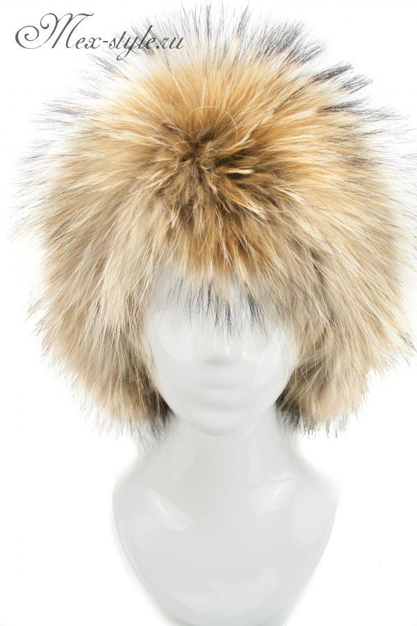 Мужская шапка с мехом енота с кожей 306