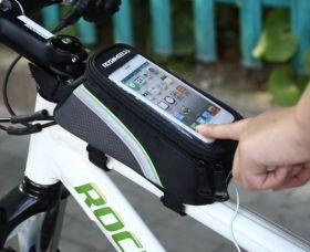 Сумка на раму велосипеда с чехлом под телефон черный