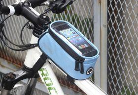 Сумка на раму велосипеда с чехлом под телефон голубой