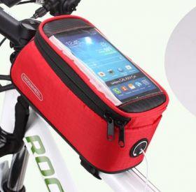 Сумка на раму велосипеда с чехлом под телефон Красная