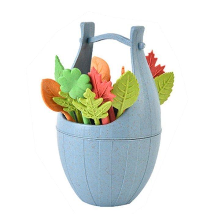 Набор шпажек на подставке Bucket Fruit Fork, 16 шт. (Цвет: Голубой)