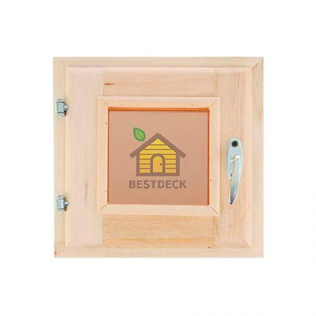 Окна из черной ольхи для бани Прозрачное стекло