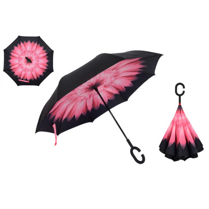 Купить Зонт наоборот Розовая гербера недорого с доставкой