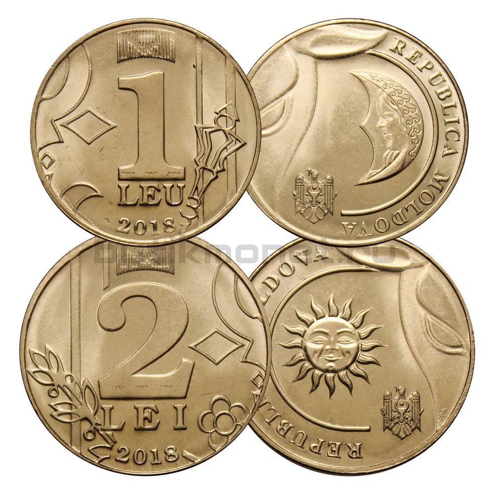 Набор 1 и 2 лей 2018 Молдавия (2 монеты)