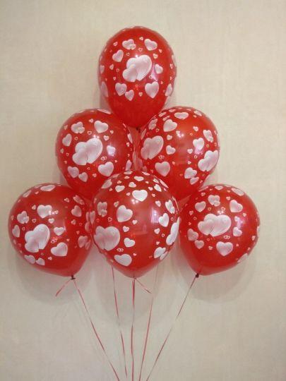 Маленькие Сердечки красные латексные шары с гелием