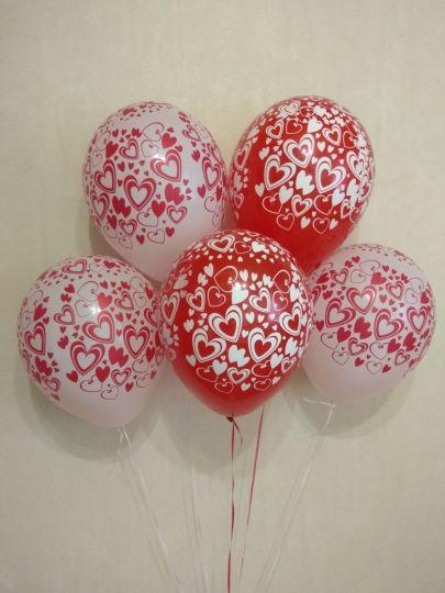 Сердечки Контраст латексные шары с гелием