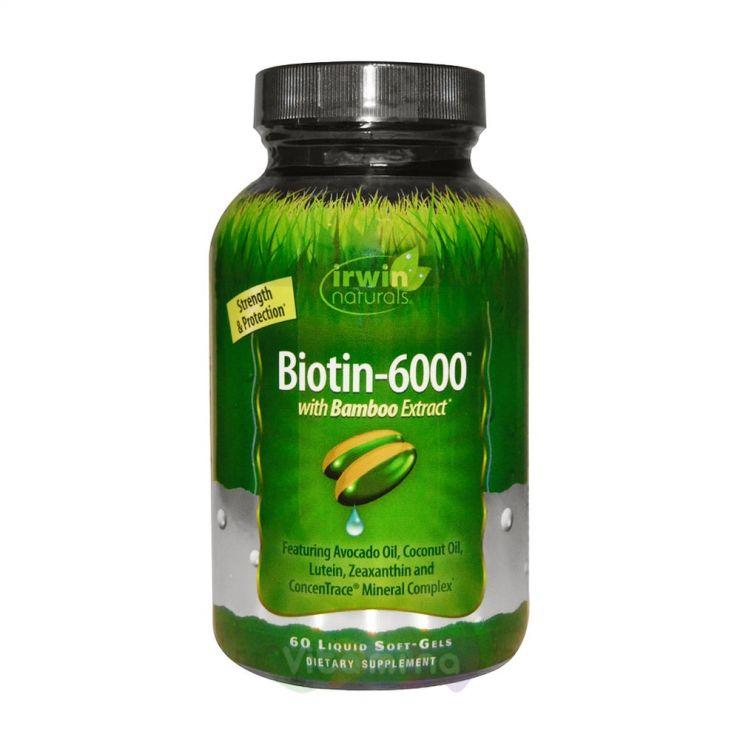 Irwin Naturals Биотин 6000, 60 капсул