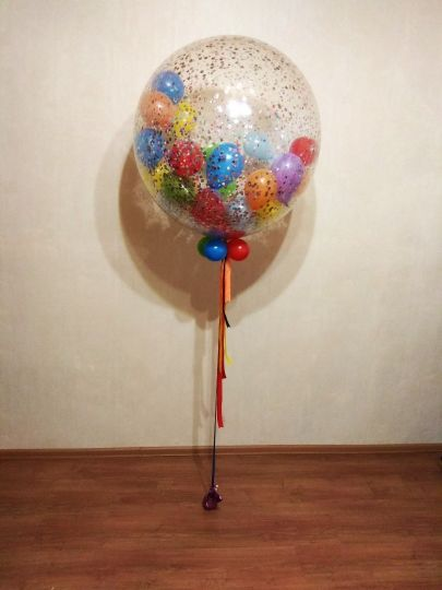 Метровый шар с мелким конфетти и шариками внутри