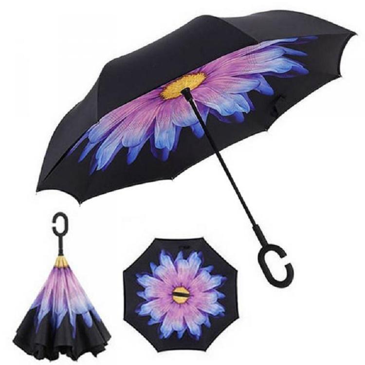 Зонт наоборот Фиолетовый пламенный цветок
