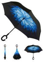 Купить Зонт наоборот Голубая хризантема недорого с доставкой