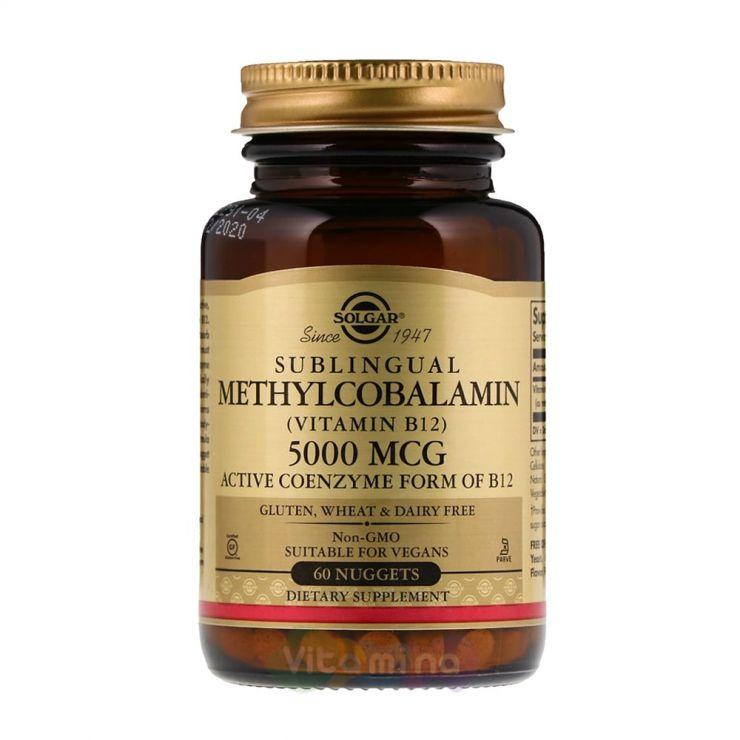 Солгар Метилкобаламин (витамин В12) 5000 мкг, 60 табл