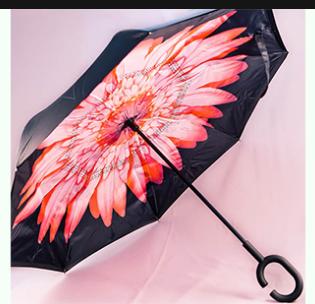 Зонт наоборот Розовый пламенный цветок