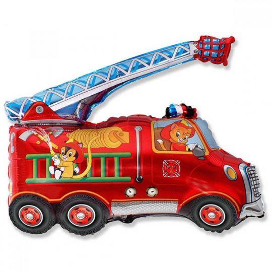 Пожарная машина на палочке шар фольгированный