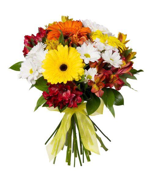 Яркий букет из хризантем и гербер «Красочный фонтан»