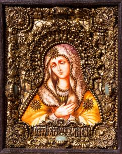 Икона Божьей Матери Умиление 14 х 19 см. в киоте, роспись по дереву, самоцветы