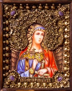 """Икона """"Ангел Хранитель"""" 14 х 19 см. в киоте, роспись по дереву, самоцветы"""