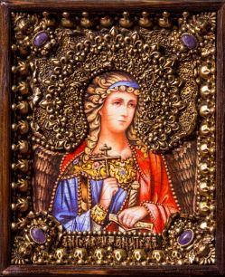 """Икона """"Ангел Хранитель"""" 19 х 23 см. в киоте, роспись по дереву"""