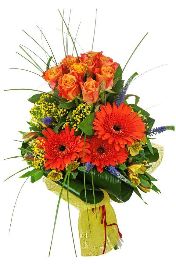 Букет из роз, гербер и альстромерий «Яркий»