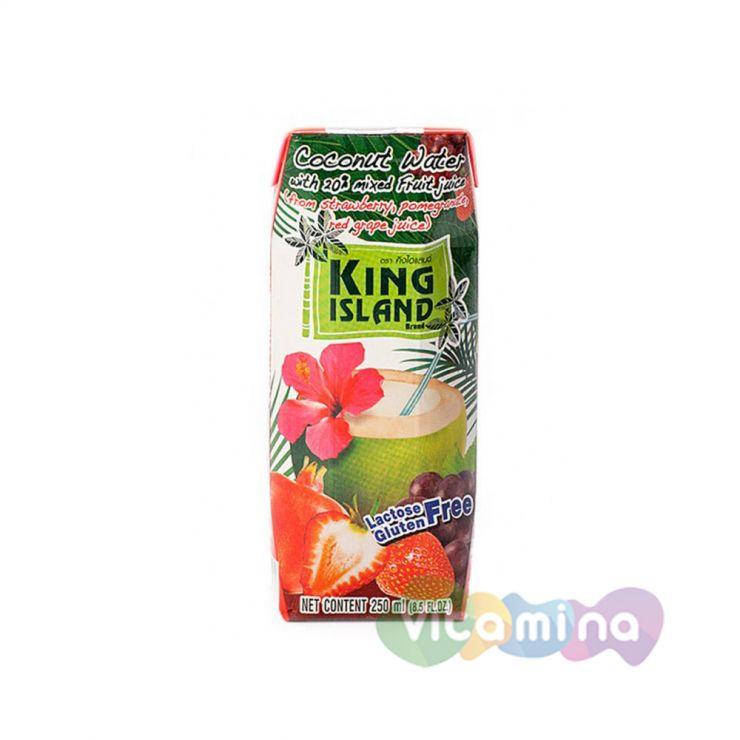 Кокосовая вода с фруктовым соком (клубника, гранат, виноград)