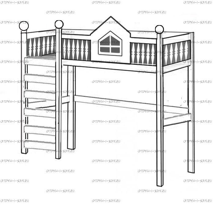 Кровать-чердак Домик №KV15, любые размеры и цвета