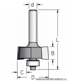 Фреза для выборки четверти хвостовик 12 мм двухзубая W.P.W. E220952