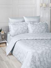 """Комплект постельного белья """"KARNA"""" Сатин-жаккард  ARIEL  евро (серый)  Арт.2993-2"""