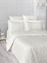 """Комплект постельного белья """"KARNA"""" Сатин-жаккард  ARIEL  евро (кремовый)  Арт.2993-3"""