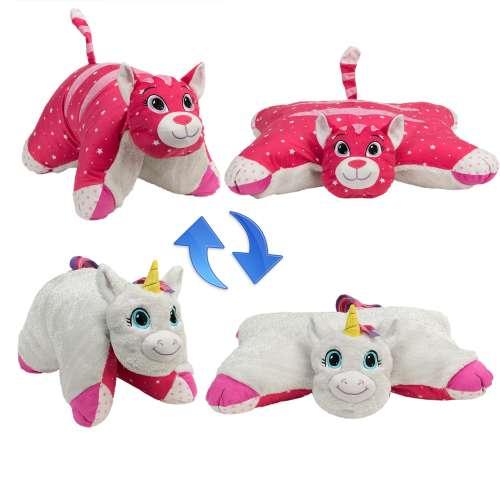 Подушка Вывернушка 2 в 1 Белый единорог - розовая кошечка,  1 TOY