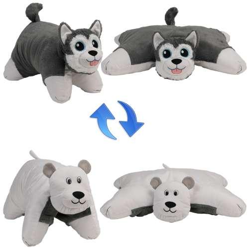 Подушка Вывернушка 2 в 1 Хаски - Полярный медведь,  1 TOY