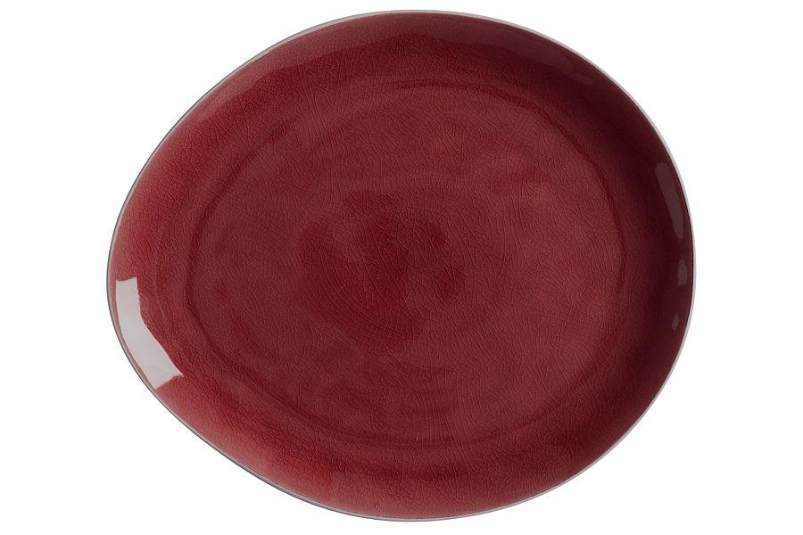 """Тарелка овальная большая """"Artisan"""" (Гранатовый), 33х29 см, без инд. упаковки"""