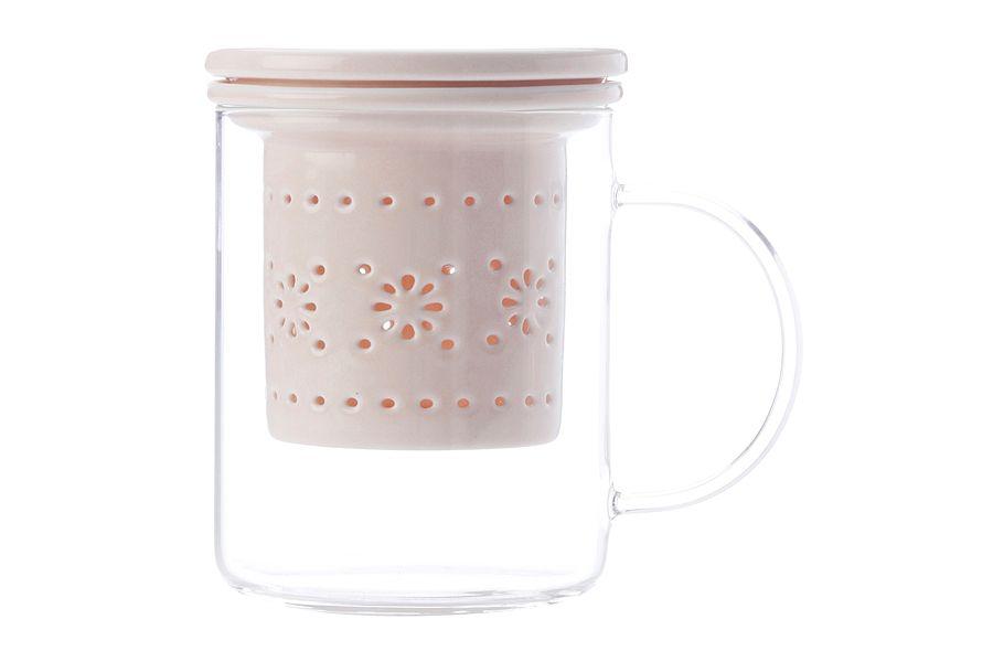 """Кружка стекл с ситечком и крышкой из фарфора """"Лилия"""" (розовая), 0.35 л, подарочная упаковка"""