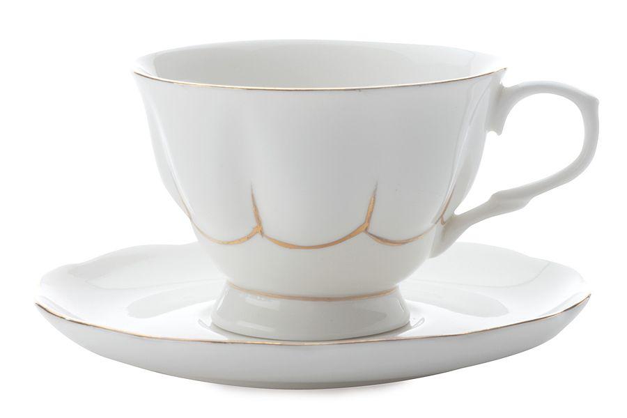 """Чашка с блюдцем (белая) """"Свежее дыхание"""", 0.25 л, подарочная упаковка"""