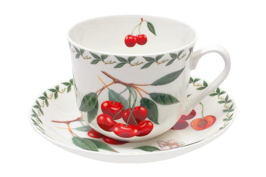Чашка с блюдцем Вишня, 0.48 л, подарочная упаковка
