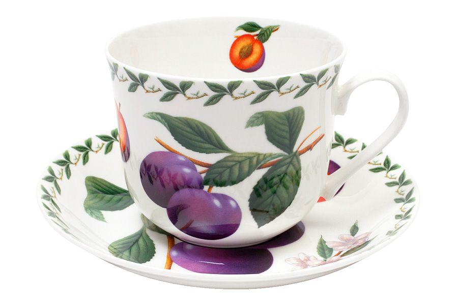 Чашка с блюдцем Слива, 0.48 л, подарочная упаковка