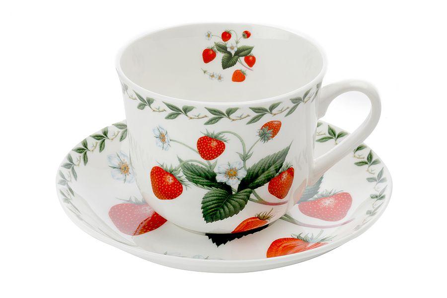 Чашка с блюдцем Земляника, 0.48 л, подарочная упаковка